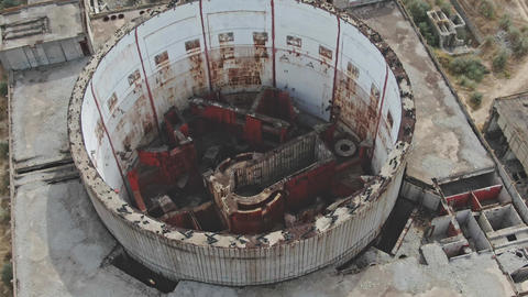 AERIAL SHOT CRIMEA near SHELKINO city AUGUST 2019 The room of a nuclear reactor Live Action
