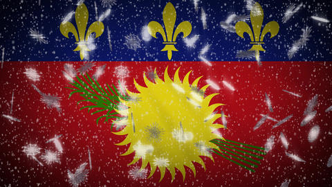 Guadeloupe flag falling snow loopable, New Year and Christmas background, loop Animation