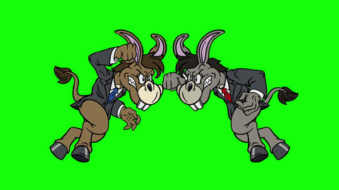 Cartoon Democrat Donkey vs Democrat Donkey on Green Screen Animation