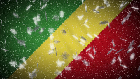 Congo flag falling snow loopable, New Year and Christmas background, loop Animation