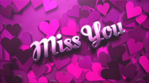 Animated closeup Miss You text and motion romantic heart on Valentine day shiny background Animation