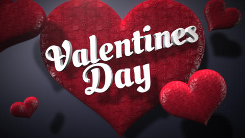 Animated closeup Valentine Day text and motion romantic heart on Valentine day shiny background Animation