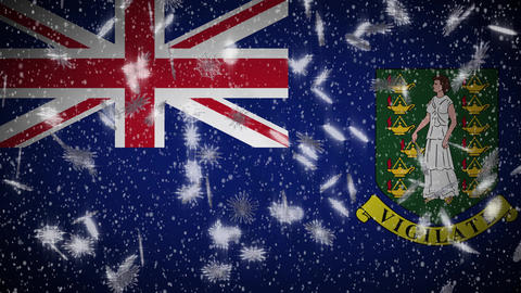 British Virgin Islands flag falling snow loopable, New Year and Christmas, loop Animation