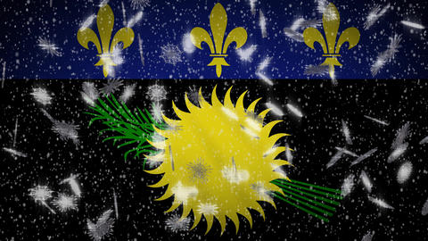 Guadeloupe variant flag falling snow loopable, New Year and Christmas, loop Animation