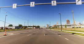 Driver's Perspective on Highway with Cleveland in Distance Footage