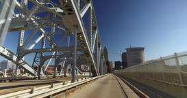 Driving Perspective on Detroit-Superior Bridge in Cleveland Footage