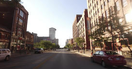 Driving on West 9th Street in Downtown Cleveland Footage