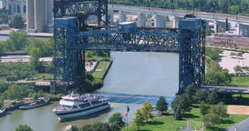 Timelapse View of Tour Boat on Cuyahoga River in Cleveland Footage