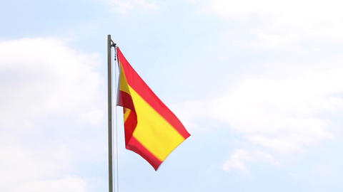 National flag of Spain on a flagpole Footage