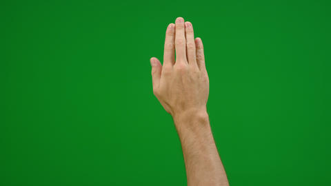 Set of 8 different full hand swipe gestures fast and slow on greenscreen Live Action
