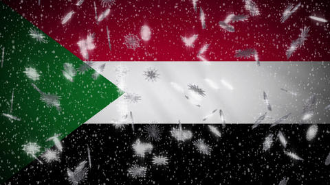 Sudan flag falling snow loopable, New Year and Christmas background, loop Animation