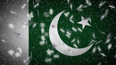Pakistan flag falling snow loopable, New Year and Christmas background, loop Animation