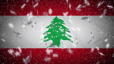Lebanon flag falling snow loopable, New Year and Christmas background, loop Animation