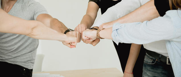 Many fists of a group of people showing team connection Photo