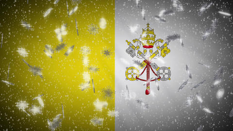 Vatican flag falling snow loopable, New Year and Christmas background, loop Animation