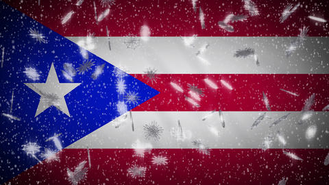 Puerto Rico flag falling snow loopable, New Year and Christmas background, loop Animation