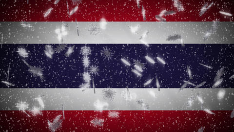 Thailand flag falling snow loopable, New Year and Christmas background, loop Animation