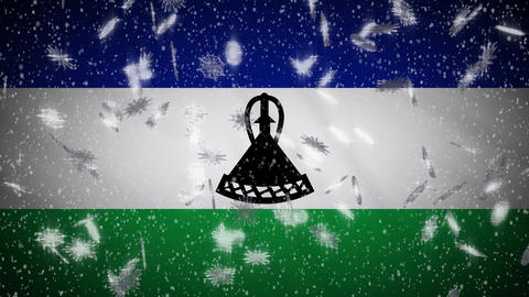 Lesotho flag falling snow loopable, New Year and Christmas background, loop Animation