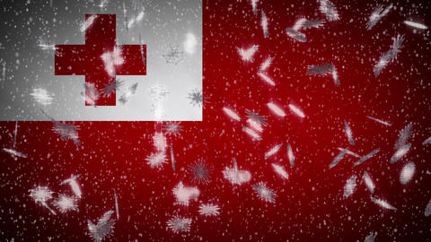 Tonga flag falling snow loopable, New Year and Christmas background, loop Animation