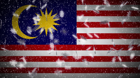 Malaysia flag falling snow loopable, New Year and Christmas background, loop Animation