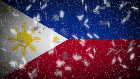 Philippines flag falling snow loopable, New Year and Christmas background, loop Animation