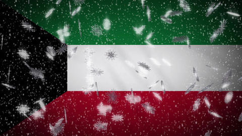 Kuwait flag falling snow loopable, New Year and Christmas background, loop Animation