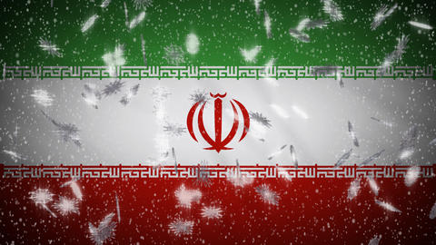 Iran flag falling snow loopable, New Year and Christmas background, loop Animation