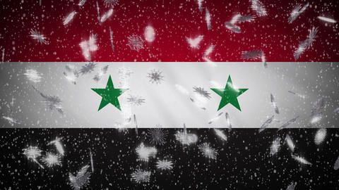 Syria flag falling snow loopable, New Year and Christmas background, loop Animation