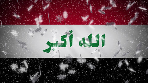 Iraq flag falling snow loopable, New Year and Christmas background, loop Animation