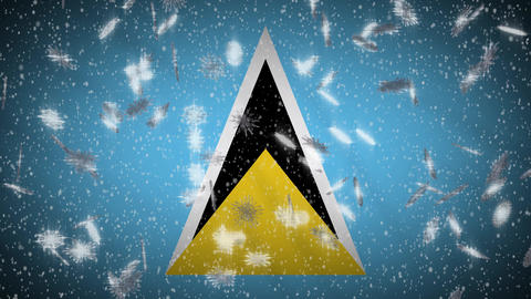 Saint Lucia flag falling snow loopable, New Year and Christmas background, loop Animation
