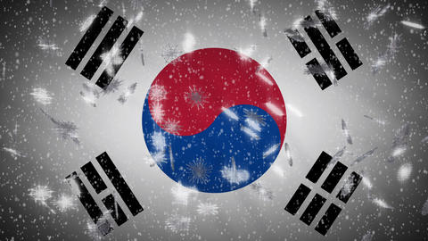 South Korea flag falling snow loopable, New Year and Christmas background, loop Animation