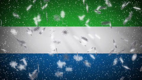 Sierra Leone flag falling snow loopable, New Year and Christmas background, loop Animation