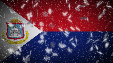 Sint Maarten flag falling snow loopable, New Year and Christmas background, loop Animation