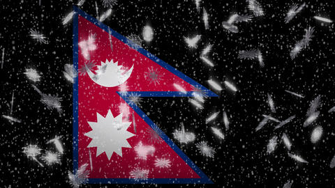 Nepal flag falling snow loopable, New Year and Christmas background, loop Animation
