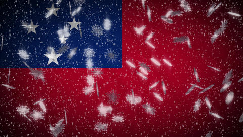 Samoa flag falling snow loopable, New Year and Christmas background, loop Animation