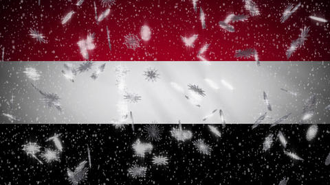 Yemen flag falling snow loopable, New Year and Christmas background, loop Animation