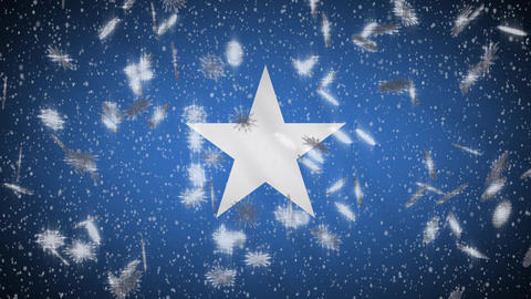 Somalia flag falling snow loopable, New Year and Christmas background, loop Animation