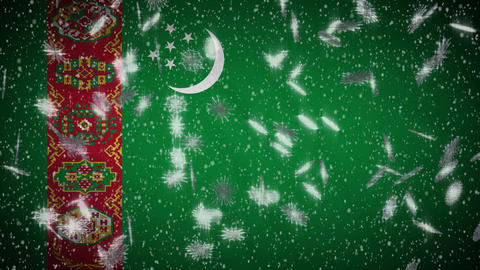 Turkmenistan flag falling snow loopable, New Year and Christmas background, loop Animation