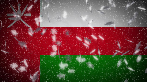 Oman flag falling snow loopable, New Year and Christmas background, loop Animation
