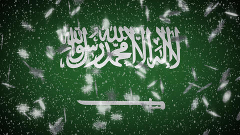 Saudi Arabia flag falling snow loopable, New Year and Christmas background, loop Animation
