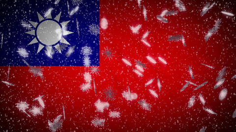 Taiwan flag falling snow loopable, New Year and Christmas background, loop Animation