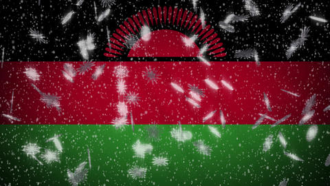 Malawi flag falling snow loopable, New Year and Christmas background, loop Animation