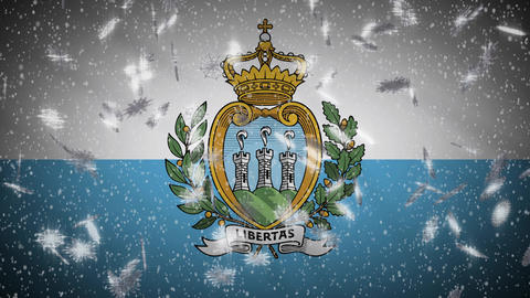 San Marino flag falling snow loopable, New Year and Christmas background, loop Animation