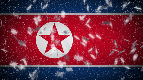 North Korea flag falling snow loopable, New Year and Christmas background, loop Animation