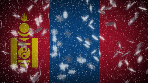 Mongolia flag falling snow loopable, New Year and Christmas background, loop Animation