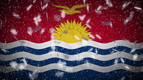 Kiribati flag falling snow loopable, New Year and Christmas background, loop Animation