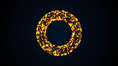 Ring of many flashing colored particles, computer generated. 3d rendering of art Live Action