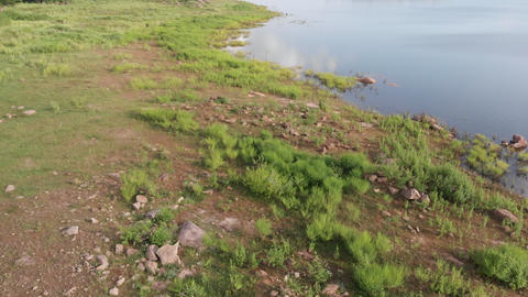 4K Drone shot aerial view scenic landscape of river reservoir dam Live Action