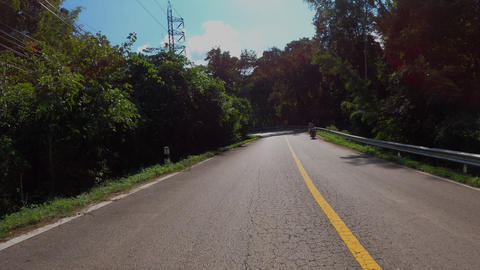 Time-lapse POV journey on the countryside road fast movement speed in the rural place with wood and Acción en vivo