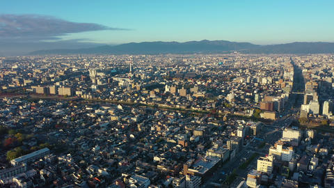 Aerial view 4k video by drone of Kyoto buildings with skyline view in Kyoto city, Japan Live Action